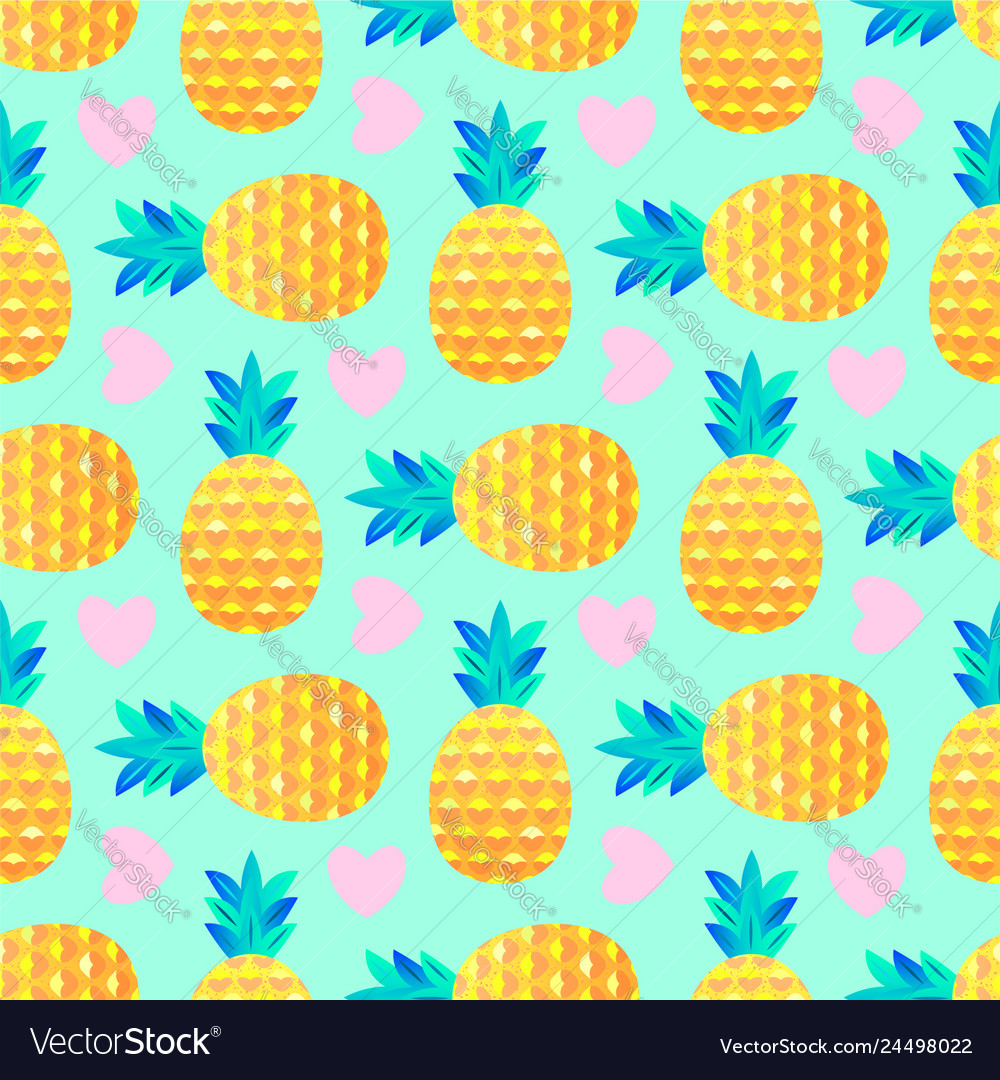 Pattern with pineapples and hearts