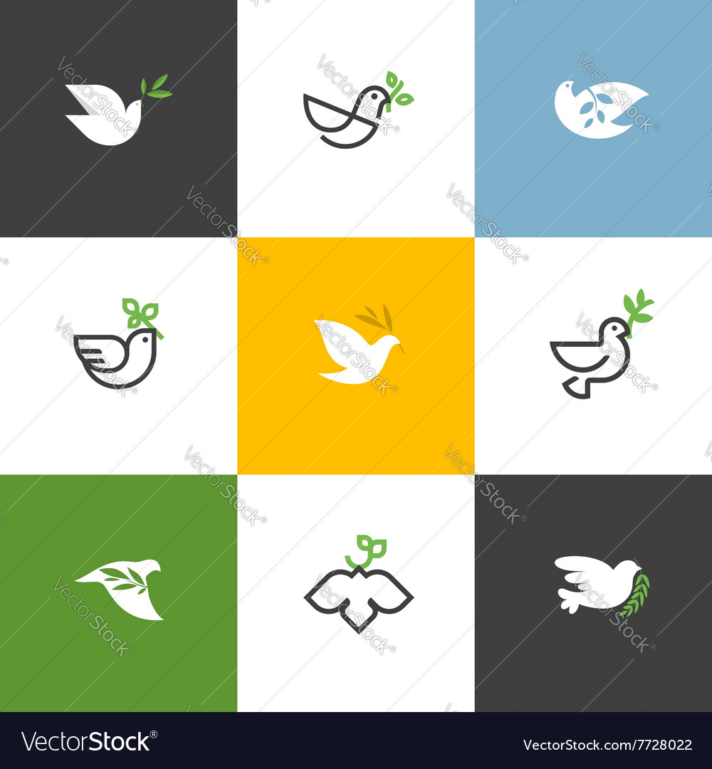Peace dove with green branch set of icons and logo