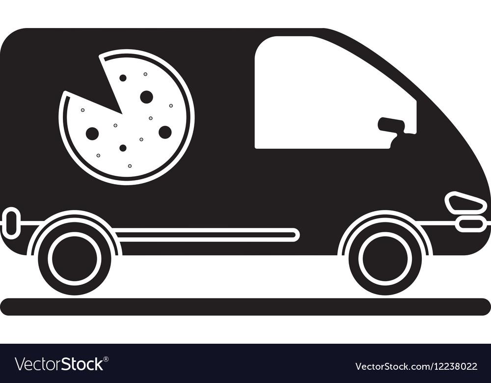 Pizza delivery car van service pictogram