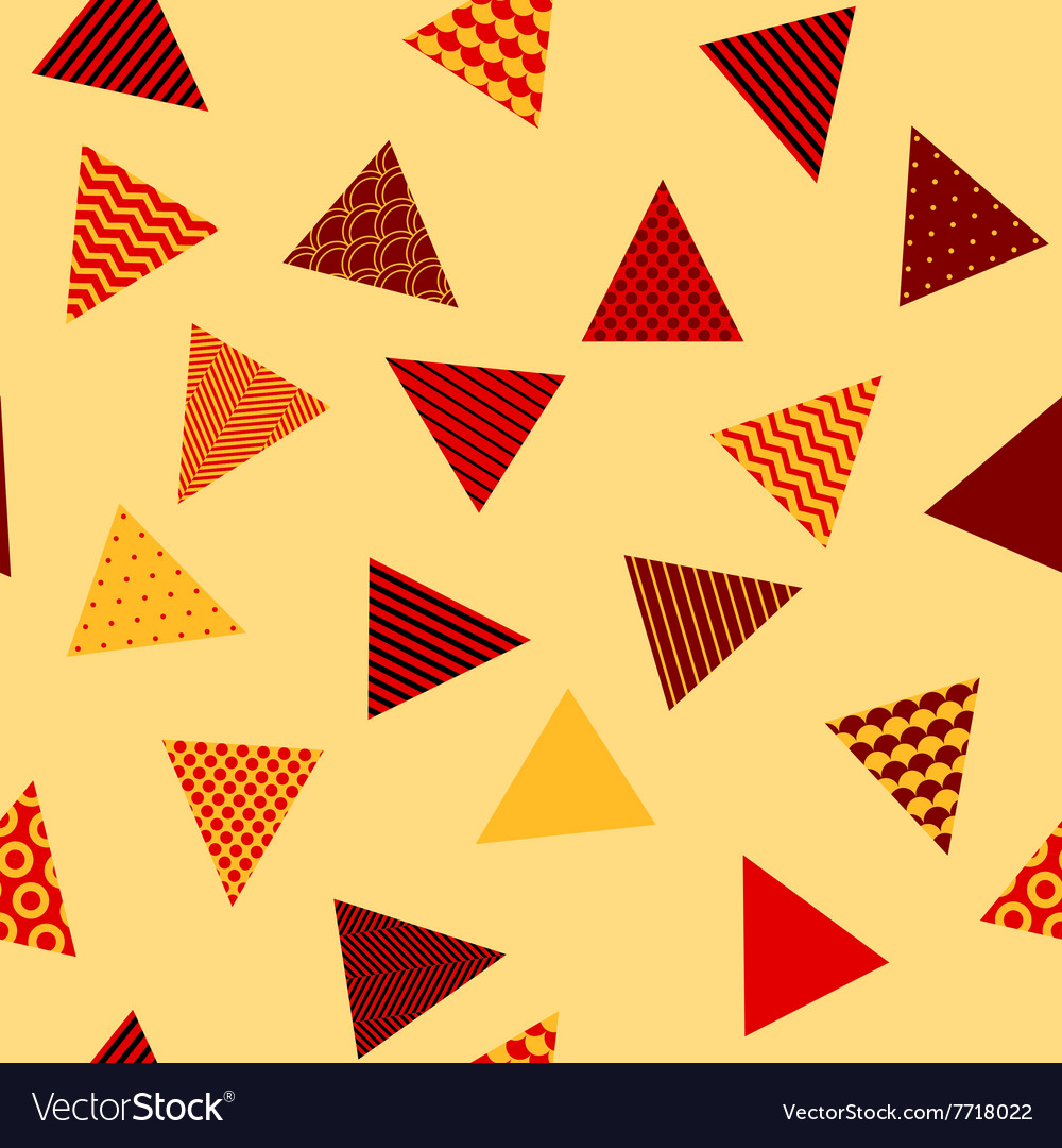 Red and yellow patterned triangles geometric