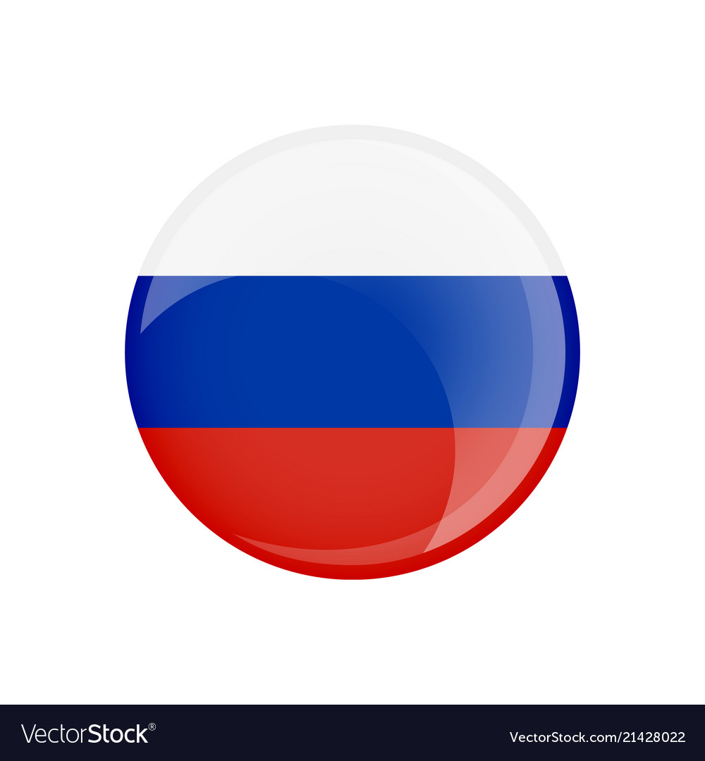 Russia flag in circle shape transparent glossy