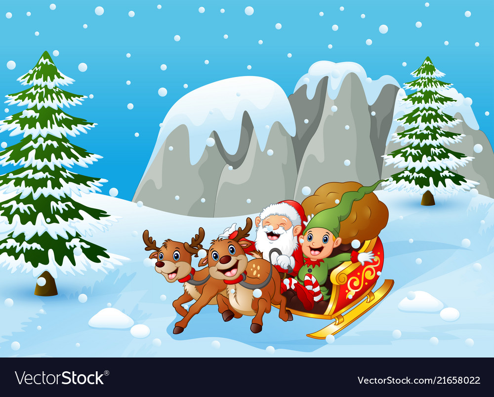 Santa claus and elf sliding in the snowing hill