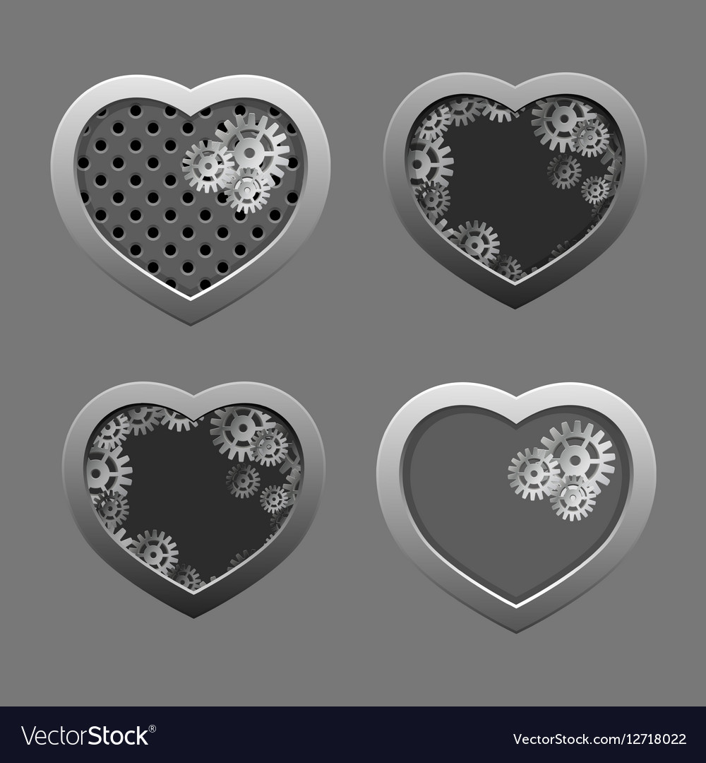 Set of Metal hearts with silver gears