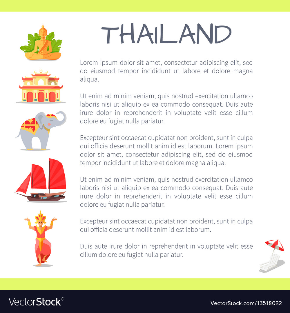 Thailand touristic concept with sample text