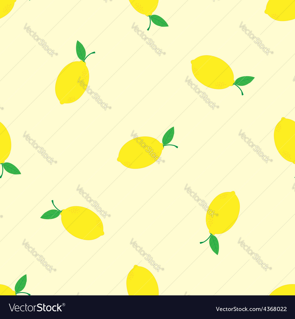 Watercolor seamless pattern with lemons on the