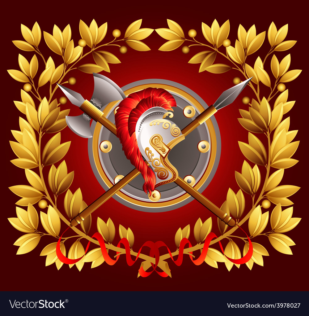 Antique arms and a laurel wreath