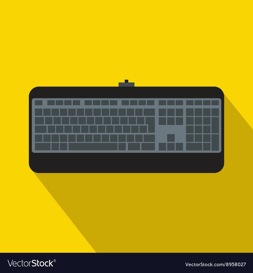 Black computer keyboard icon flat style