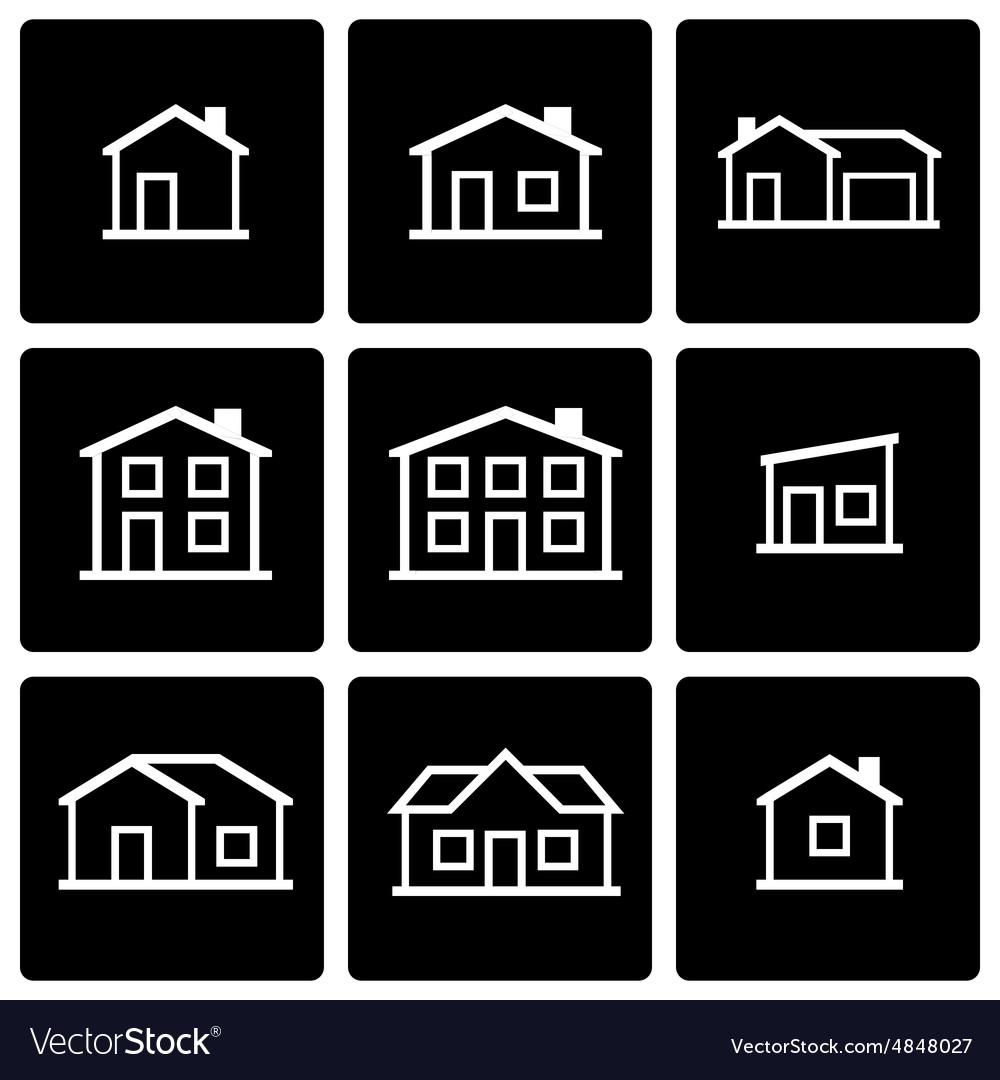 Black house icon set