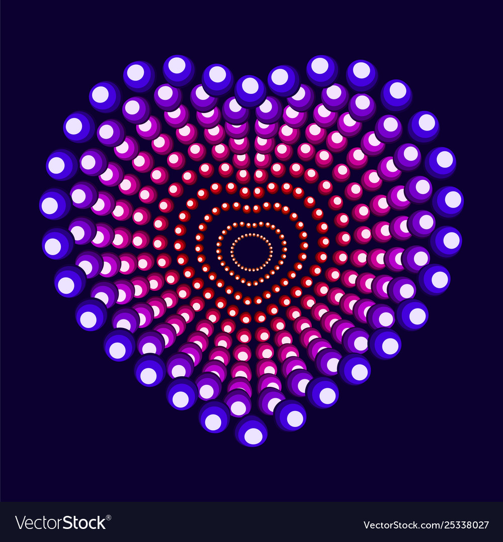 Colorful neon heart with circle elements dot