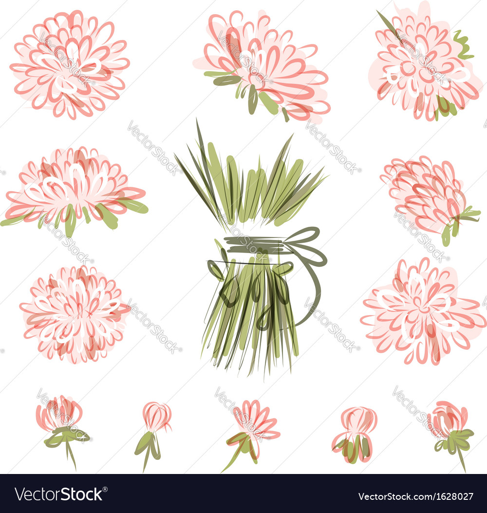 Design elements for floral bouquet vector image