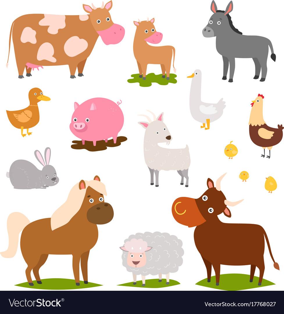 farm animals cartoon characters family rural vector image. Black Bedroom Furniture Sets. Home Design Ideas