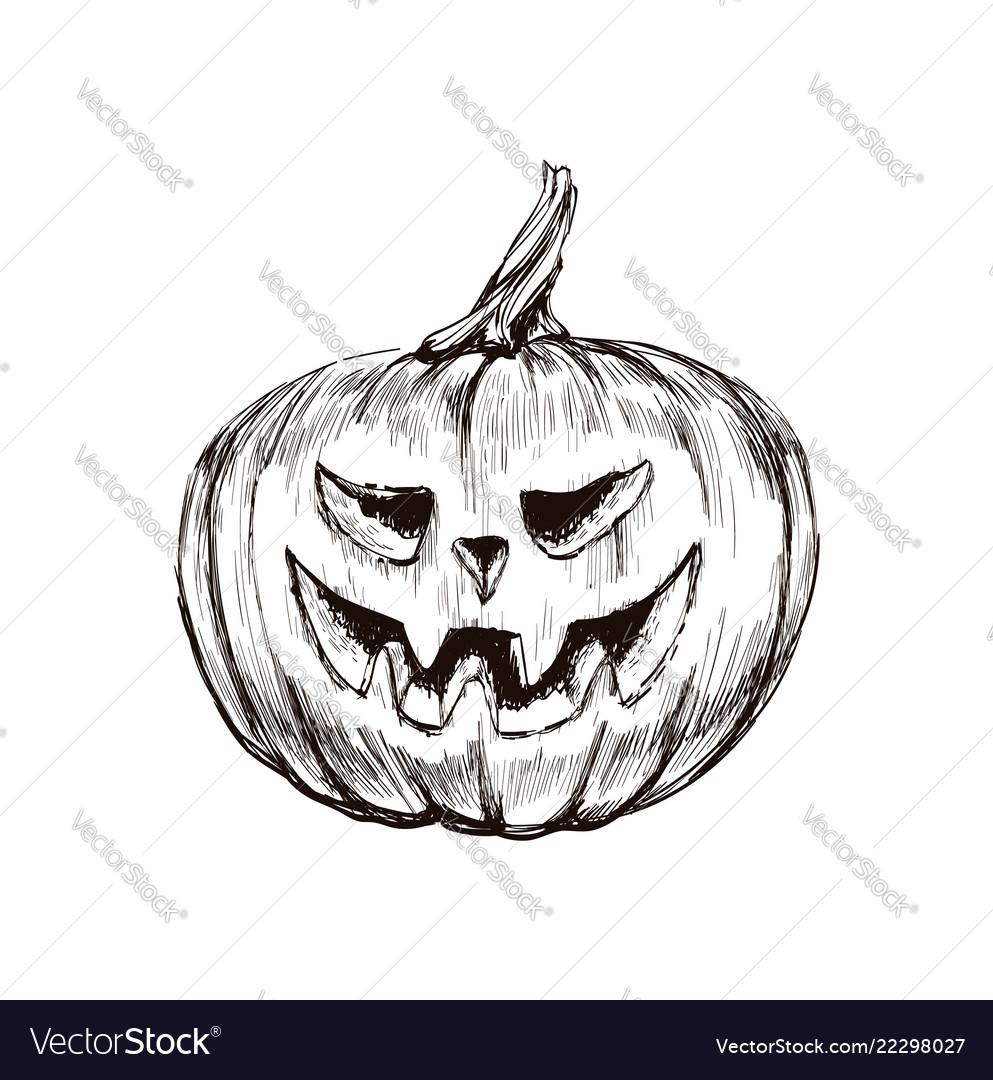 Halloween pumpkin hand drawing
