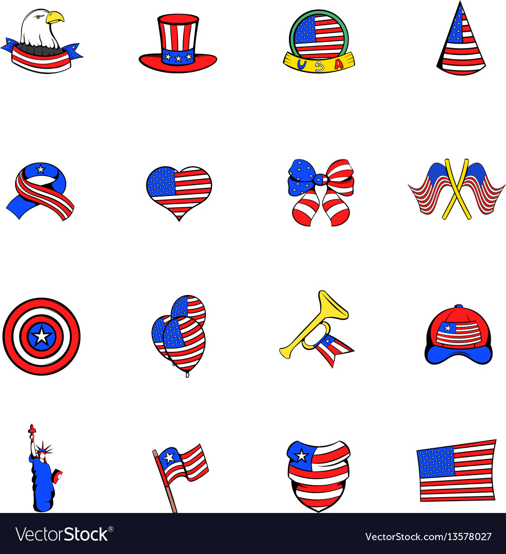Independence day icons set cartoon