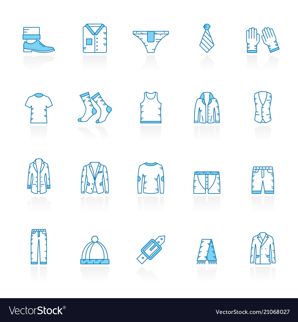 Line with blue background man clothing icons