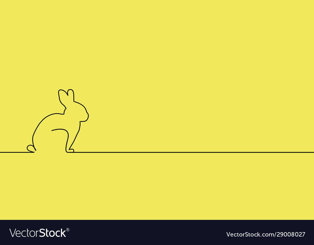 Outline easter rabbit on yellow