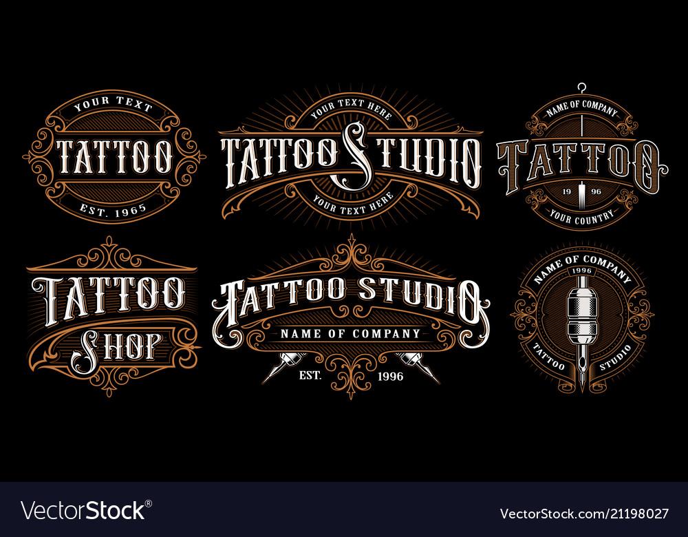 Set of vintage tattoo emblems version for dark