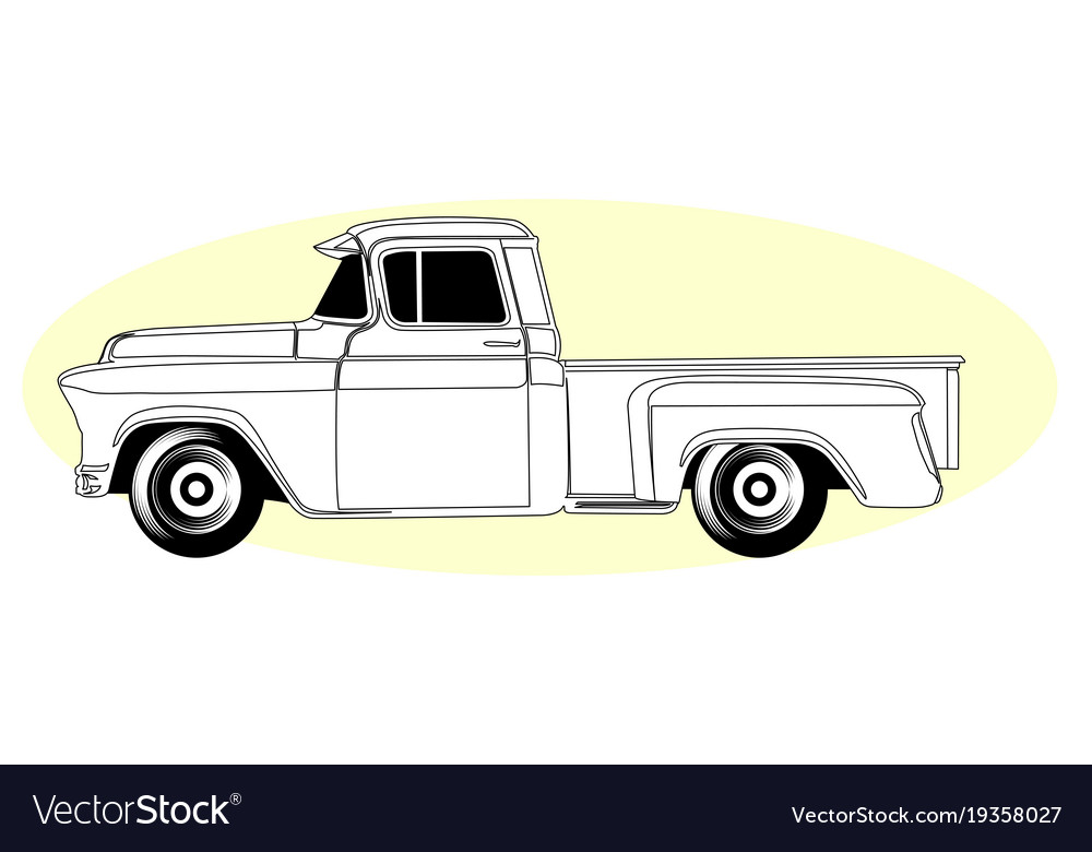 Silhouette Of Retro Pick Up Truck