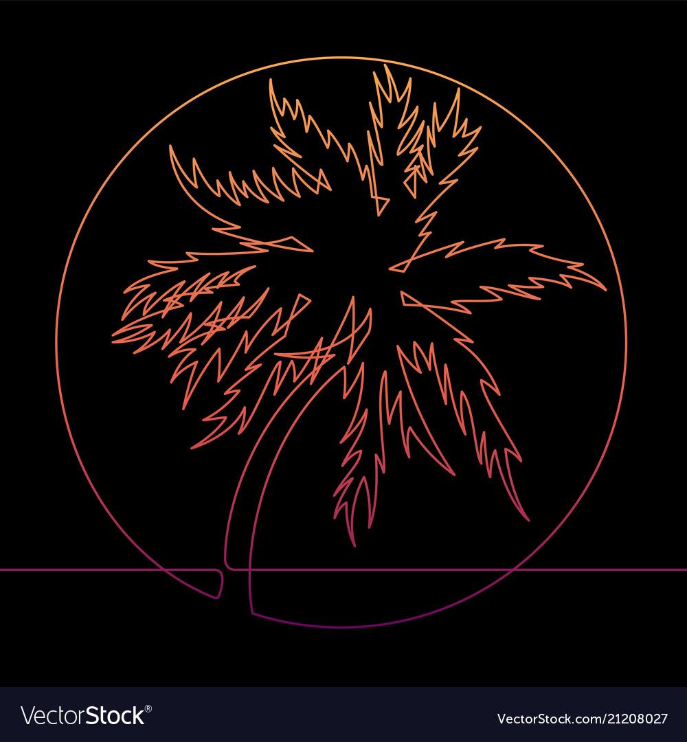 Tropical palm tree continuous line art