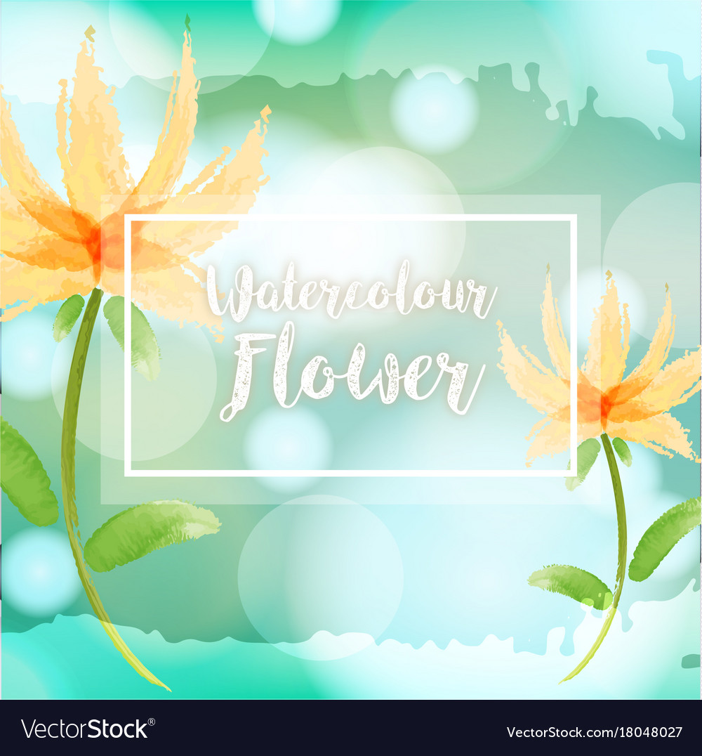 watercolor background with yellow flowers vector image vectorstock
