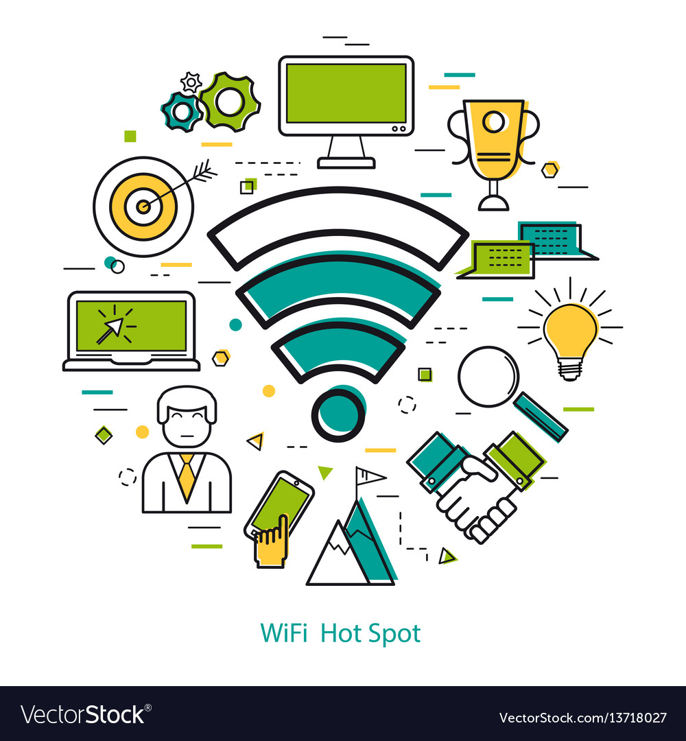 Wifi hot spot - line art concept