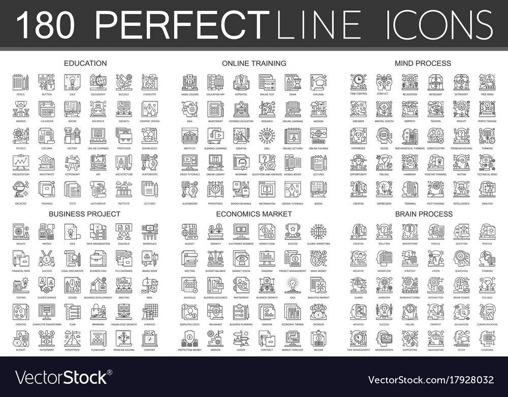 180 outline mini concept infographic symbol icons
