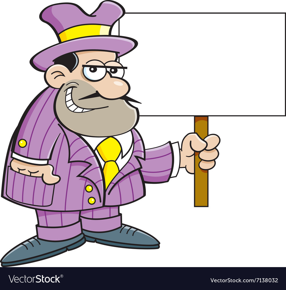 Cartoon gangster holding a sign