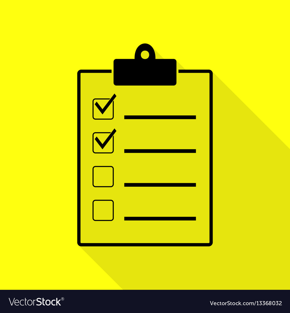 Checklist sign black icon with flat