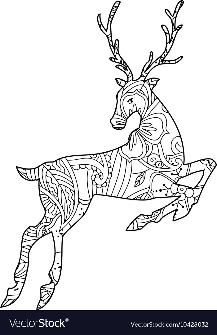 Coloring page with bohemian running deer isolated