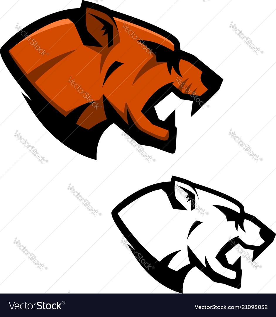 Cougar head sport team mascot template design