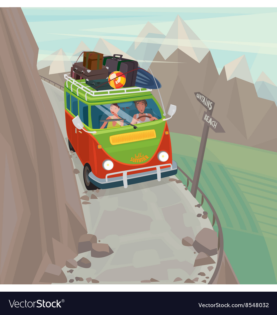 Couple in a hippie bus rides on the mountain