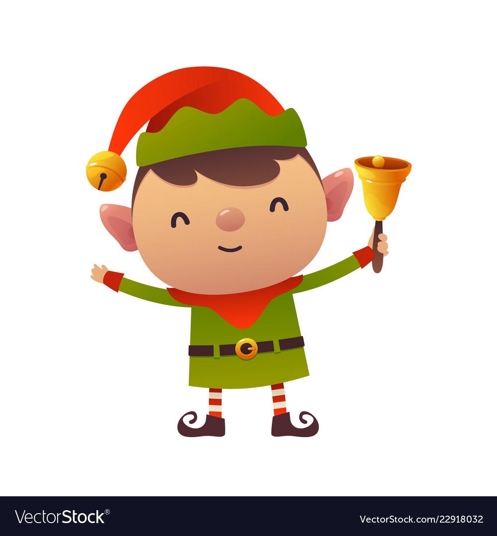 Cute cartoon christmas elf holds bell on white