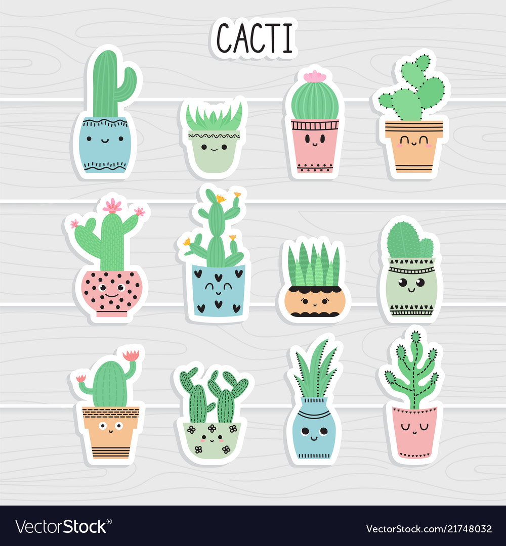 Cute stickers set of cacti and succulents cacti