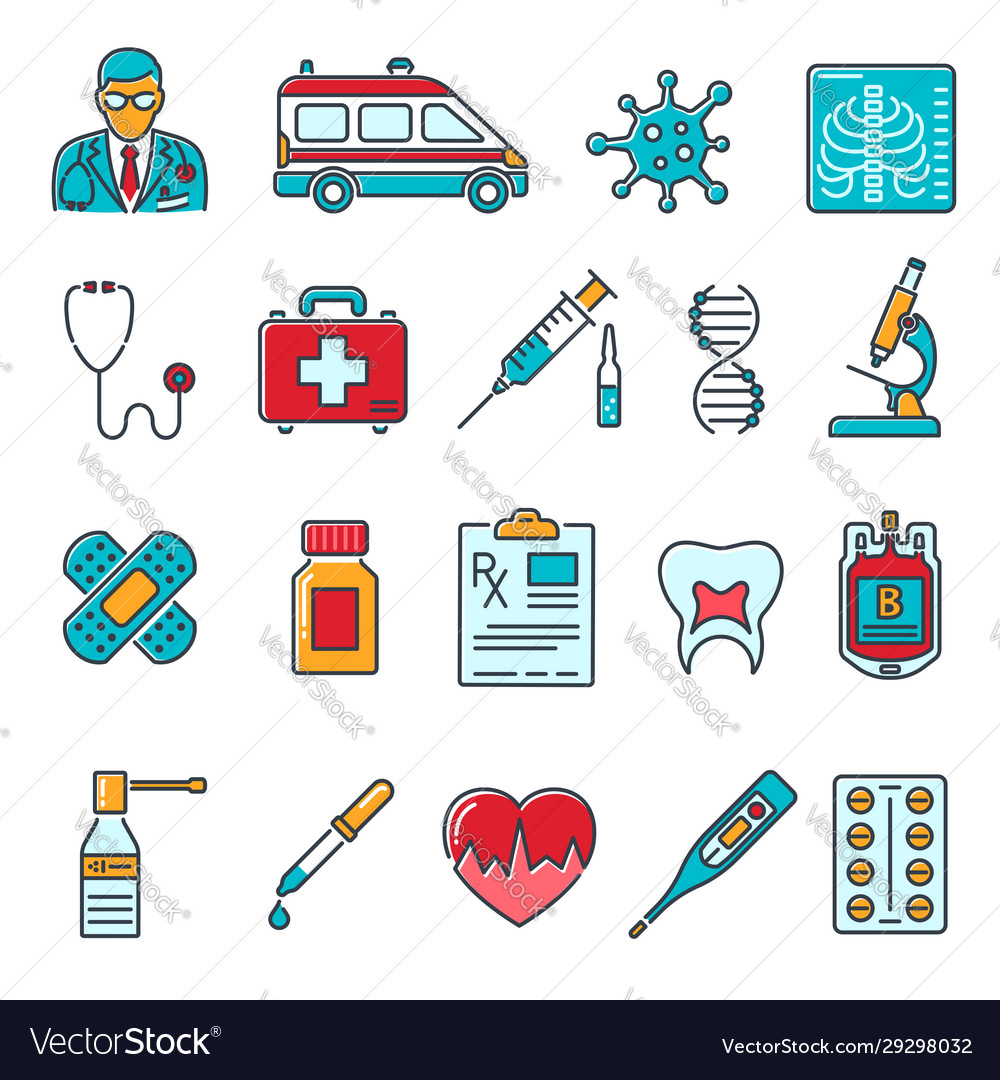 Medical healthcare colored line icons set