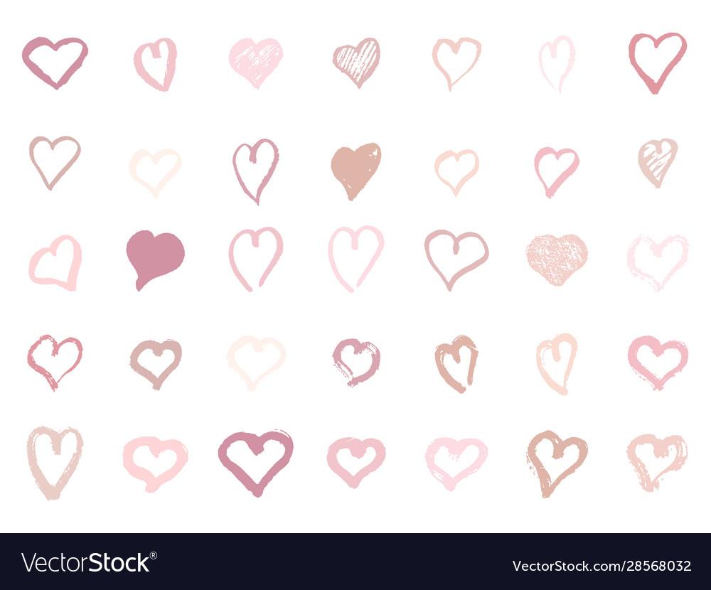 Pastel pink hearts set hand-drawn shape of