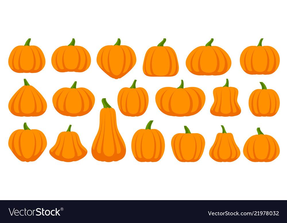 Pumpkin simple flat color icons set