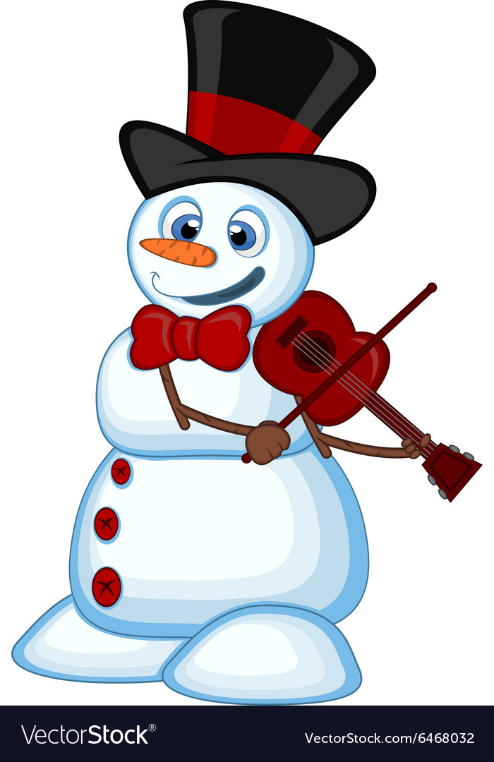 Snowman with hat and bow ties playing the violin
