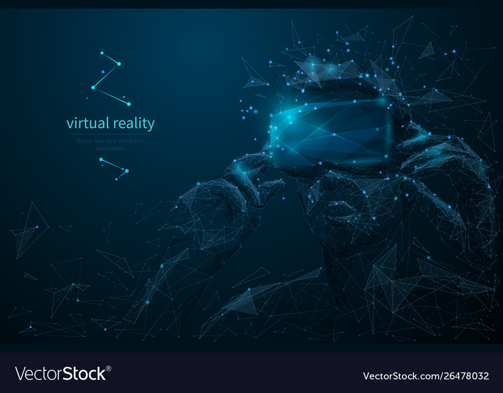 Virtual reality headset low poly wireframe banner