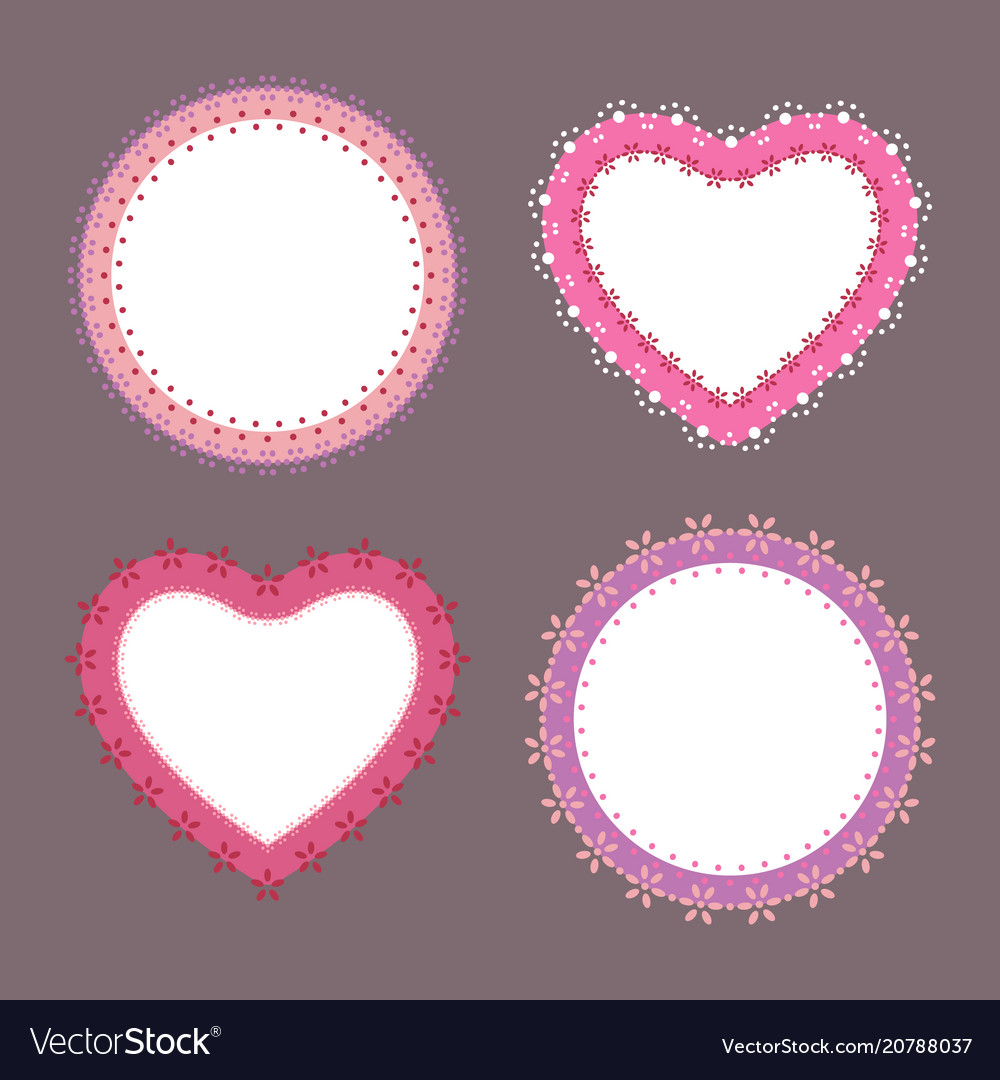 4 cute lace border heart and round labels