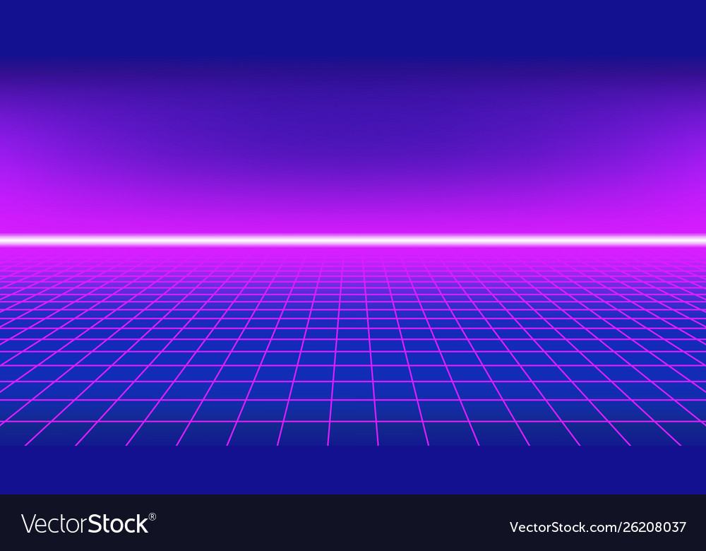 80s style background perspective grid with neon h
