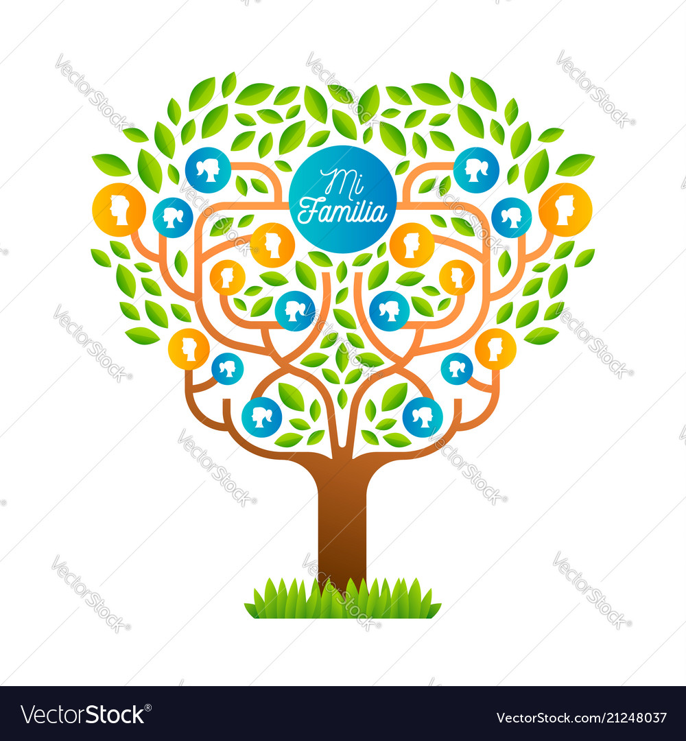 big family tree template in spanish language vector image