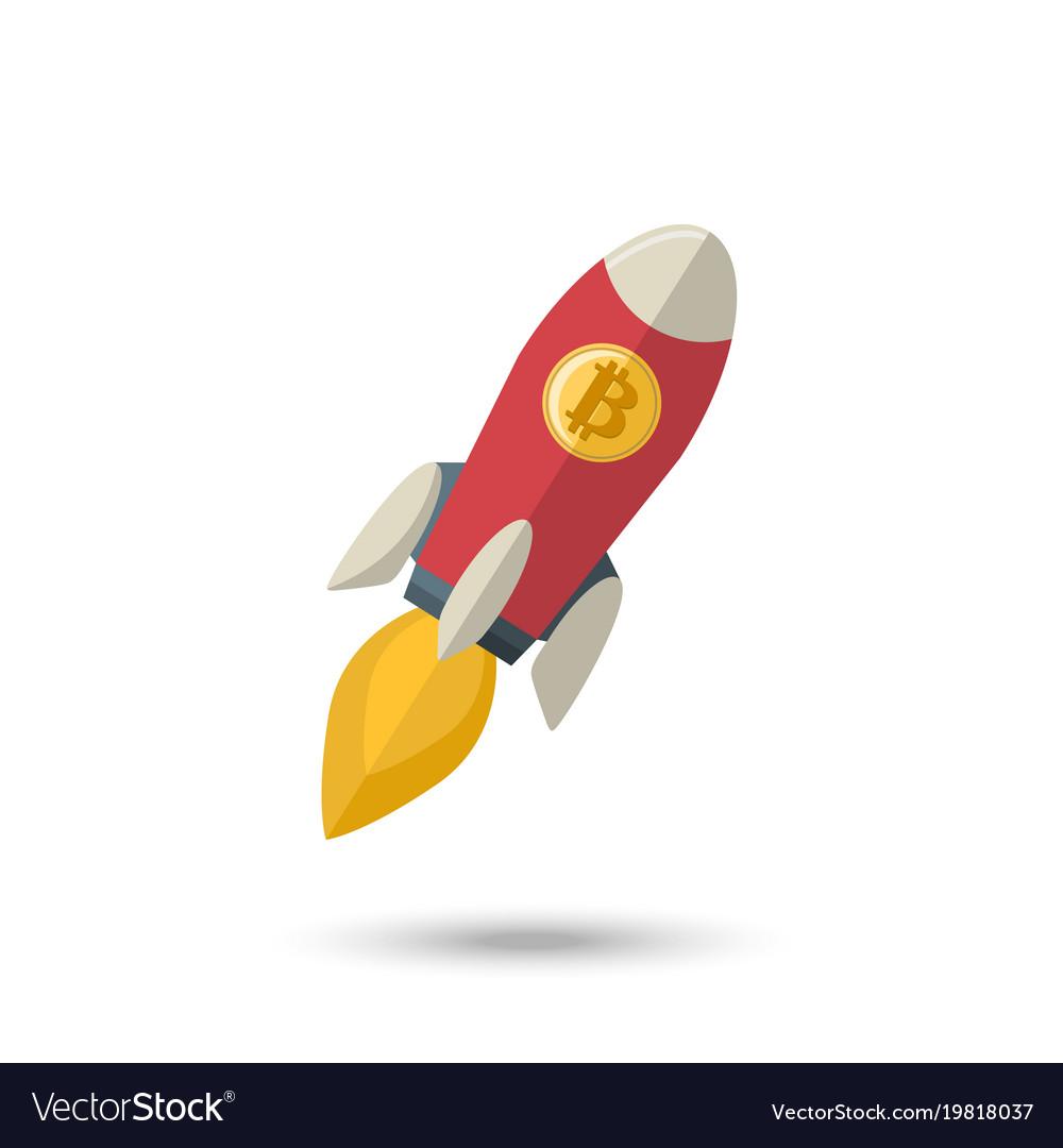 Bitcoin icon rocket ship