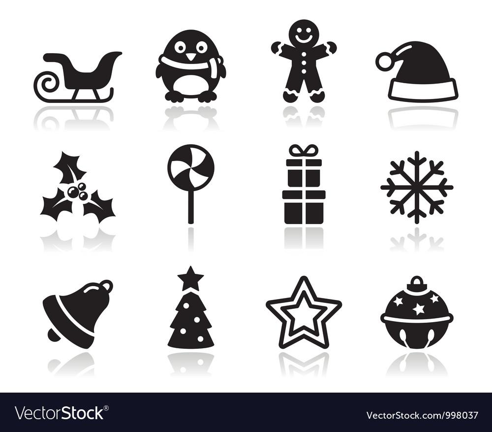 Christmas black icons with shadow set vector image