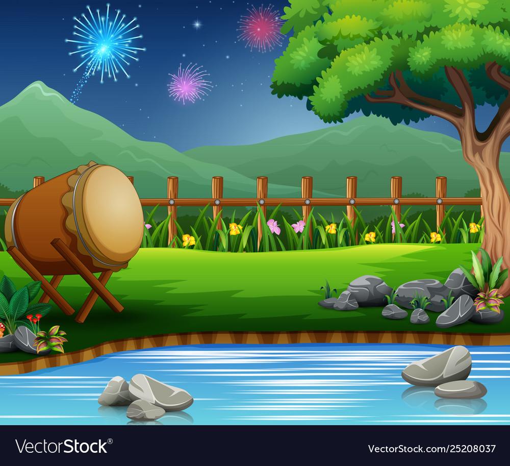 Eid mubarak celebration on beautiful nature
