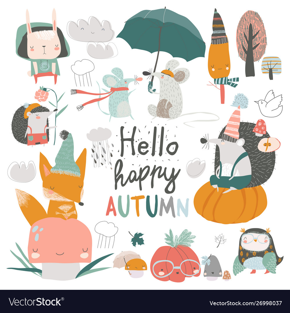 Fall set with cute forest animals in cartoon style