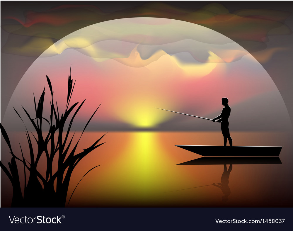 Fisherman on the boat vector image