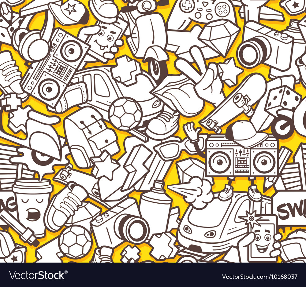 Graffiti seamless pattern for adult coloring book