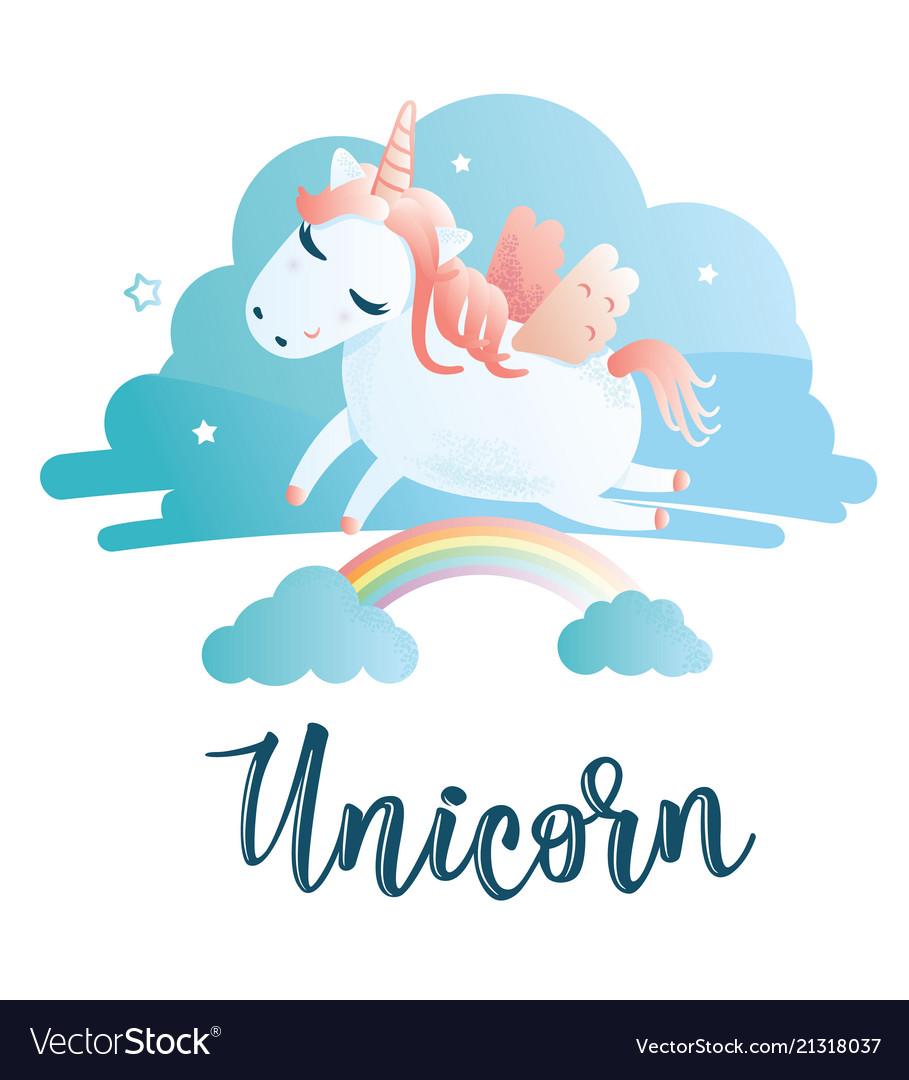 Greeting card with unicorn inscription