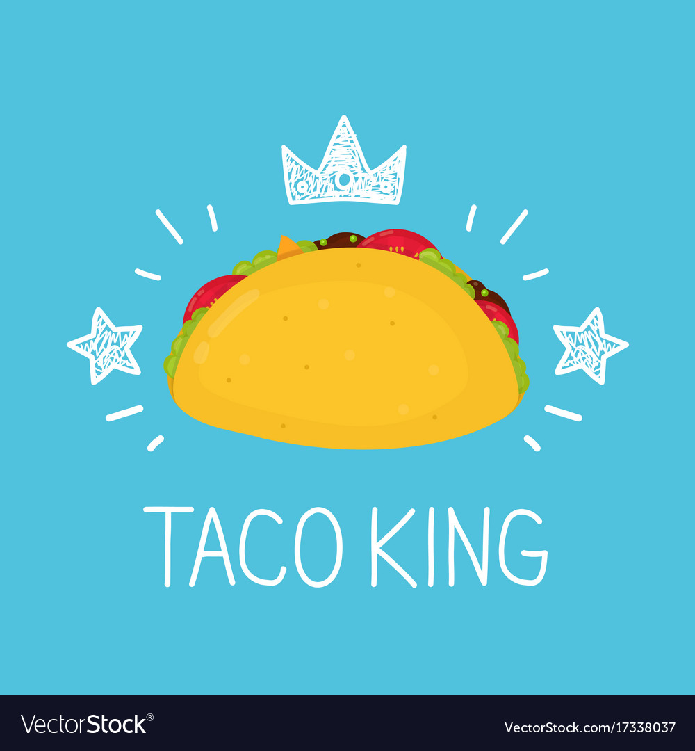 King taco cartoon flat and doodle
