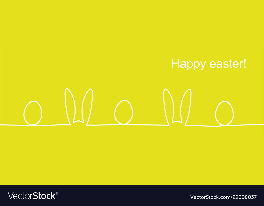 Outline easter rabbit ears and eggs
