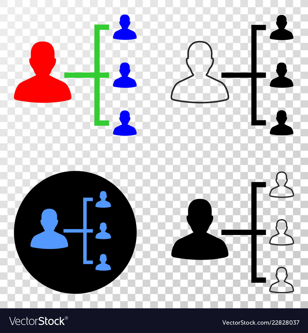 People hierarchy eps icon with contour